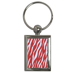 Skin3 White Marble & Red Denim Key Chains (rectangle)  by trendistuff