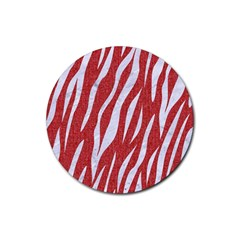 Skin3 White Marble & Red Denim Rubber Coaster (round)  by trendistuff