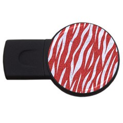 Skin3 White Marble & Red Denim Usb Flash Drive Round (4 Gb)