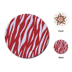 Skin3 White Marble & Red Denim Playing Cards (round)  by trendistuff