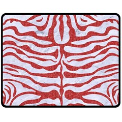 Skin2 White Marble & Red Denim (r) Double Sided Fleece Blanket (medium)  by trendistuff