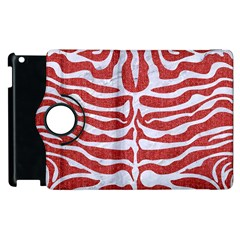 Skin2 White Marble & Red Denim Apple Ipad 3/4 Flip 360 Case by trendistuff