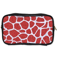 Skin1 White Marble & Red Denim (r) Toiletries Bags 2 Side by trendistuff