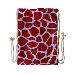 Skin1 White Marble & Red Denim (r) Drawstring Bag (small) by trendistuff
