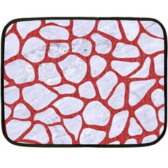 Skin1 White Marble & Red Denim Fleece Blanket (mini) by trendistuff