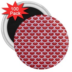 Scales3 White Marble & Red Denim 3  Magnets (100 Pack) by trendistuff