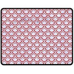 Scales2 White Marble & Red Denim (r) Double Sided Fleece Blanket (medium)  by trendistuff