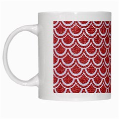 Scales2 White Marble & Red Denim White Mugs by trendistuff