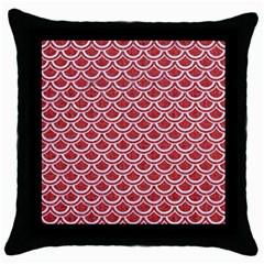 Scales2 White Marble & Red Denim Throw Pillow Case (black) by trendistuff