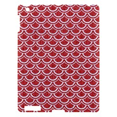 Scales2 White Marble & Red Denim Apple Ipad 3/4 Hardshell Case by trendistuff