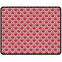 Scales2 White Marble & Red Denim Double Sided Fleece Blanket (medium)  by trendistuff
