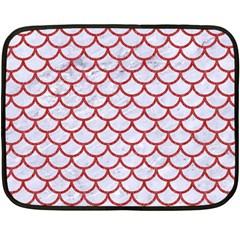 Scales1 White Marble & Red Denim (r) Fleece Blanket (mini) by trendistuff