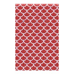 Scales1 White Marble & Red Denim Shower Curtain 48  X 72  (small)  by trendistuff