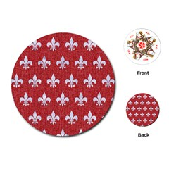 Royal1 White Marble & Red Denim (r) Playing Cards (round)  by trendistuff