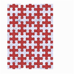 Puzzle1 White Marble & Red Denim Large Garden Flag (two Sides) by trendistuff