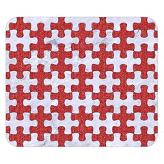 Puzzle1 White Marble & Red Denim Double Sided Flano Blanket (small)  by trendistuff