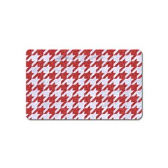 Houndstooth1 White Marble & Red Denim Magnet (name Card) by trendistuff