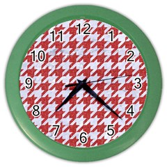 Houndstooth1 White Marble & Red Denim Color Wall Clocks