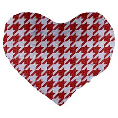 Houndstooth1 White Marble & Red Denim Large 19  Premium Heart Shape Cushions by trendistuff