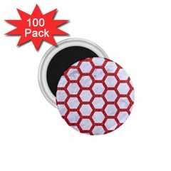 Hexagon2 White Marble & Red Denim (r) 1 75  Magnets (100 Pack)  by trendistuff