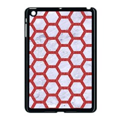 Hexagon2 White Marble & Red Denim (r) Apple Ipad Mini Case (black) by trendistuff