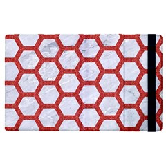 Hexagon2 White Marble & Red Denim (r) Apple Ipad Pro 12 9   Flip Case