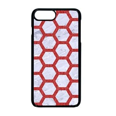 Hexagon2 White Marble & Red Denim (r) Apple Iphone 8 Plus Seamless Case (black)