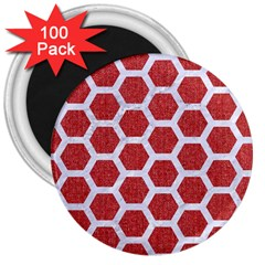 Hexagon2 White Marble & Red Denim 3  Magnets (100 Pack) by trendistuff
