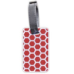 Hexagon2 White Marble & Red Denim Luggage Tags (one Side)  by trendistuff