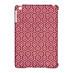 Hexagon1 White Marble & Red Denim Apple Ipad Mini Hardshell Case (compatible With Smart Cover) by trendistuff