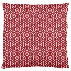 Hexagon1 White Marble & Red Denim Large Flano Cushion Case (two Sides) by trendistuff