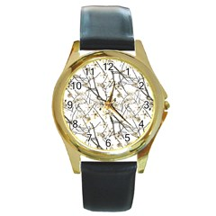 Nature Graphic Motif Pattern Round Gold Metal Watch by dflcprints