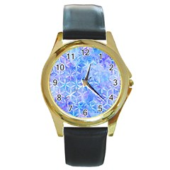 Flower Of Life Paint Pattern 8jpg Round Gold Metal Watch by Cveti