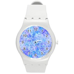 Flower Of Life Paint Pattern 8jpg Round Plastic Sport Watch (m) by Cveti