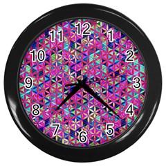 Flower Of Life Paint Pattern 10 Wall Clocks (black) by Cveti