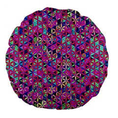 Flower Of Life Paint Pattern 10 Large 18  Premium Flano Round Cushions by Cveti