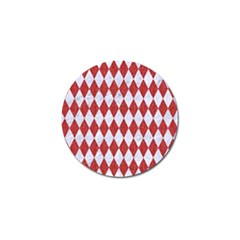Diamond1 White Marble & Red Denim Golf Ball Marker by trendistuff