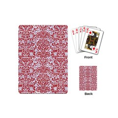 Damask2 White Marble & Red Denim (r) Playing Cards (mini)  by trendistuff