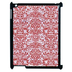 Damask2 White Marble & Red Denim (r) Apple Ipad 2 Case (black) by trendistuff