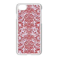 Damask2 White Marble & Red Denim (r) Apple Iphone 7 Seamless Case (white) by trendistuff