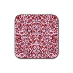 Damask2 White Marble & Red Denim Rubber Square Coaster (4 Pack)  by trendistuff