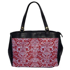 Damask2 White Marble & Red Denim Office Handbags by trendistuff