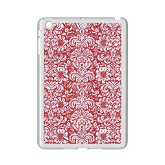 Damask2 White Marble & Red Denim Ipad Mini 2 Enamel Coated Cases by trendistuff