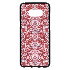 Damask2 White Marble & Red Denim Samsung Galaxy S8 Plus Black Seamless Case