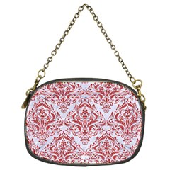 Damask1 White Marble & Red Denim (r) Chain Purses (one Side)  by trendistuff