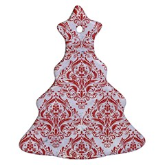 Damask1 White Marble & Red Denim (r) Christmas Tree Ornament (two Sides)