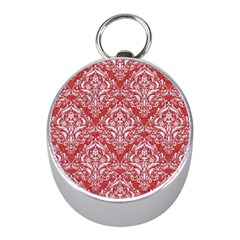 Damask1 White Marble & Red Denim Mini Silver Compasses by trendistuff