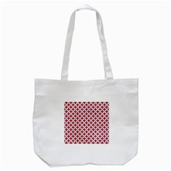 Circles3 White Marble & Red Denim Tote Bag (white) by trendistuff