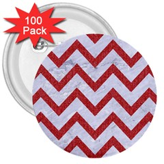 Chevron9 White Marble & Red Denim (r) 3  Buttons (100 Pack)  by trendistuff