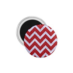 Chevron9 White Marble & Red Denim 1 75  Magnets by trendistuff